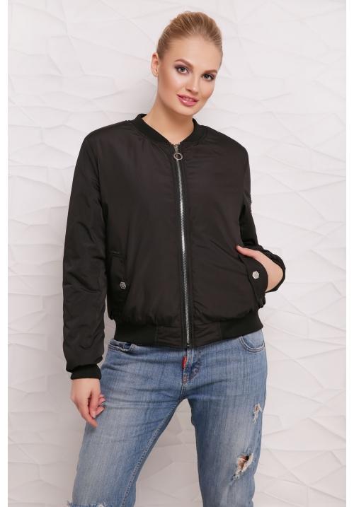 Куртка-ветровка Бомбер  М-100в черная  (42-50 р)