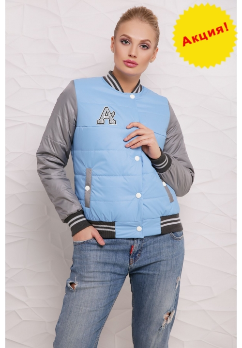 Куртка Бомбер  М-097 голубая  (42-50 р)