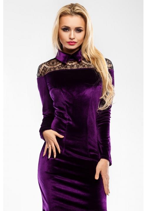 Бархатное платье в романтическом стиле M-1033